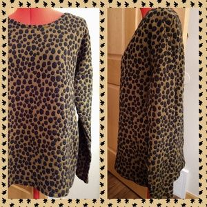 Loft cheetah top L dressy sweatshirt brown black